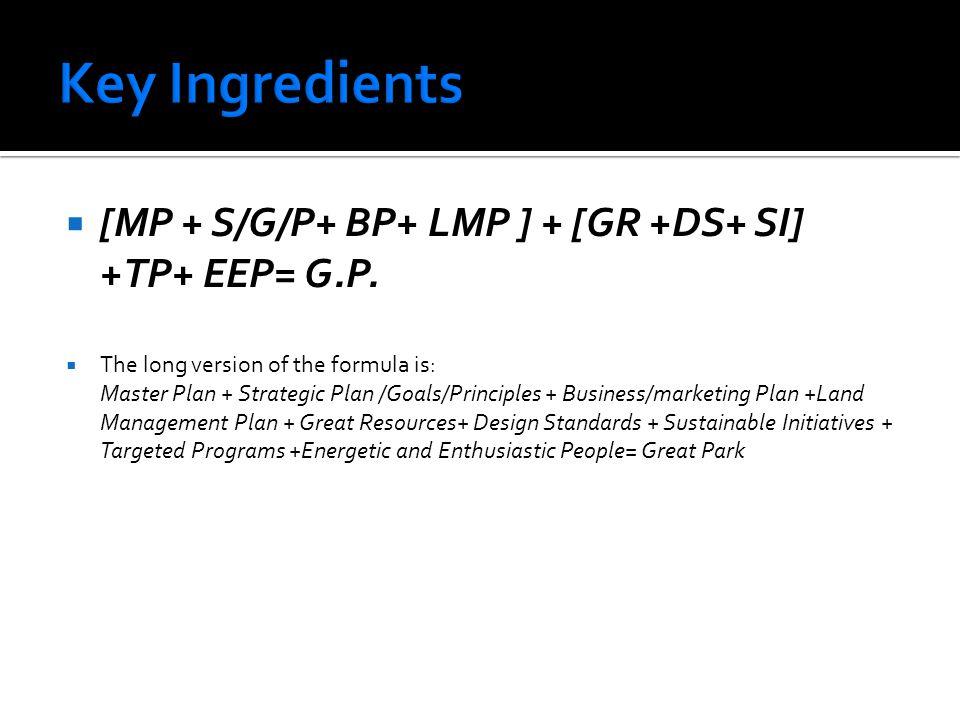 Key Ingredients [MP + S/G/P+ BP+ LMP ] + [GR +DS+ SI] +TP+ EEP= G.P.
